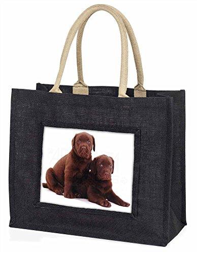 Advanta Schokolade Labrador Puppy Dogs Große Einkaufstasche/Weihnachtsgeschenk, Jute, schwarz, 42x 34,5x 2cm