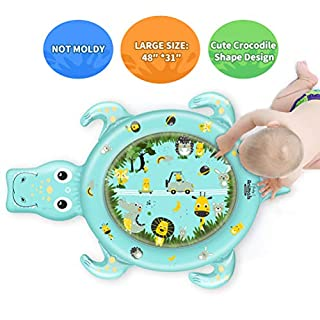 Free Swimming Baby Large Inflatable Tummy Time Baby Water Mat Infant Funny Colorful Animals Play Mat for Play Activity Center and Toddler's Growth (Green)