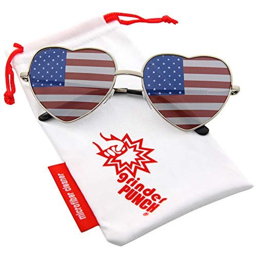 grinderPUNCH Women's Heart Shaped American Flag Cute Sunglasses US Shades -