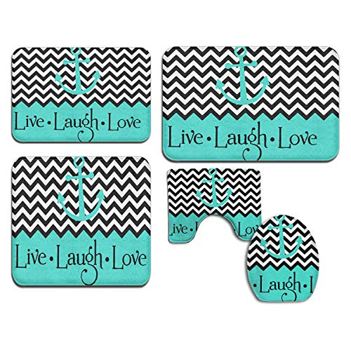 (Memory Foam 5 Piece Set Bathroom Rug Set - Live Love Laugh in Turquoise Colorblock Chevron with Anchor - Skidproof Bath Mat Rug)