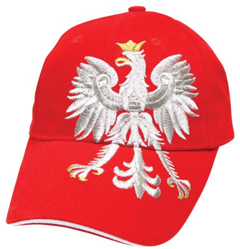 Polish Apparel Red Baseball Cap - Large Polish Eagle