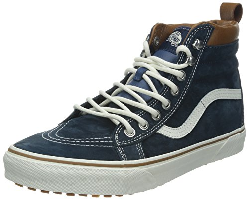 Shoes Plaid Leather (Vans Unisex SK8-Hi MTE (Mte) Dress Blues 11.5 Women / 10 Men M US)
