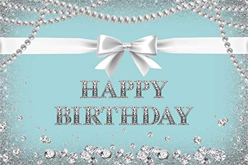 Baocicco 8x6.5ft Tiffany Blue Happy Birthday Backdrop Photography Background Silver Bowknot Pearl Necklace Diamonds Backdrop Birthday Party Girls Princess Portrait Photo Studio Video Props]()