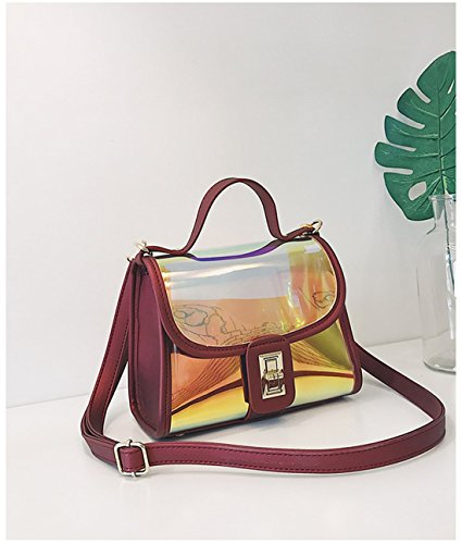 2 Bag Holographic Laser Leather Clear Purse Cossbody 1 Hologram Tote Womens Shoulder Red Bags in PU nTqxvzBBAw