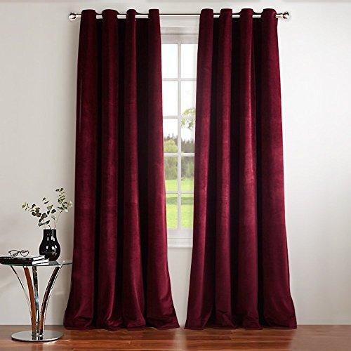 Ring Velvet Red (NICETOWN Red Velvet Curtains Blackout Drapes - Super Soft Luxury Velvet Grommet Top Blackout Drapes (1 Pair, W52xL84-inch, Ruby Red))