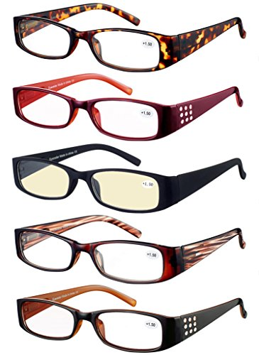 Eyecedar Reading Glasses Women 5-Pack Spring Hinges Oval Frames Included 5-Cloth Pouch And Computer Readers glasses 2.00