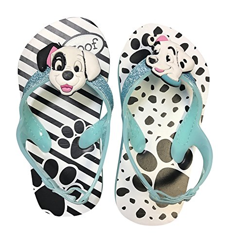 Disney 101 Dalmations Dalmatians Flip Flops Sandals Toddler Size 7-8 Back Strap Blue ()