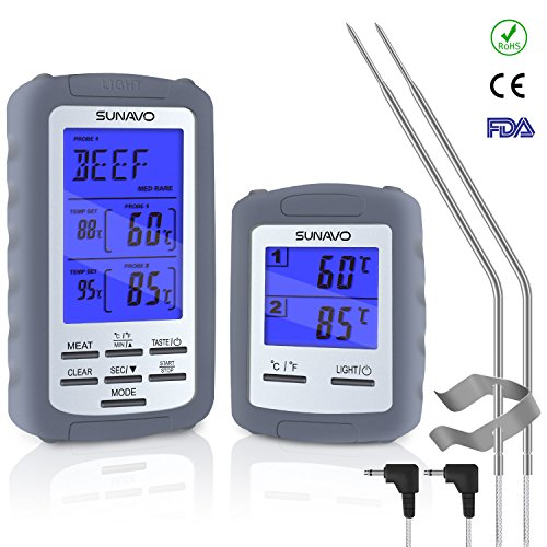 SUNAVO MT-01 Wireless Barbecue Thermometer Digital with Large LCD and Timer Alarm for Grilling Oven Kitchen Smoker BBQ Grill with Dual Temperature Probe