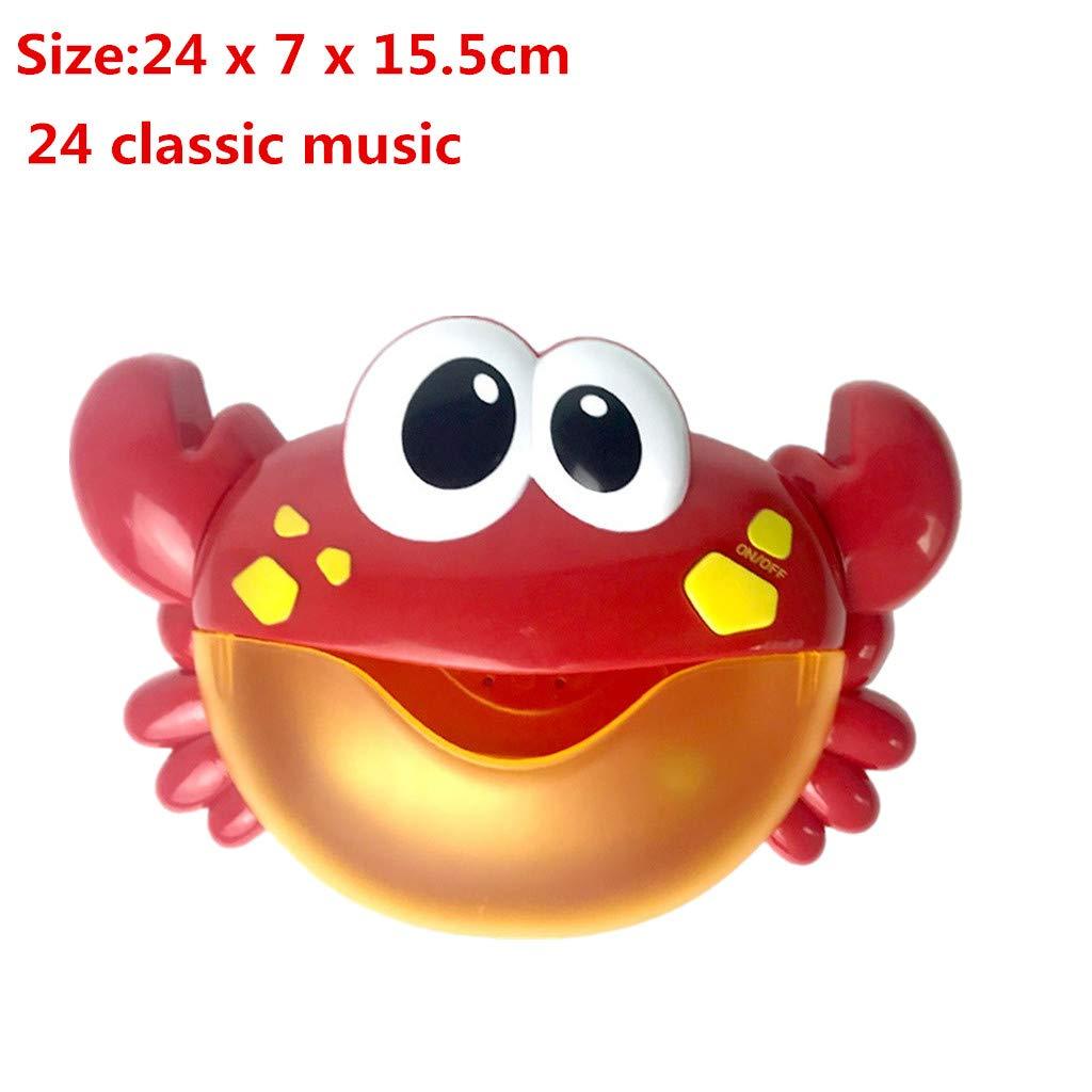 Sunnywill Bubble Machine Tub Big Crab Bubble Maker Automatico Blower 12/24/30 Music Song Bath Toy per Il Bambino Baby Bubble Blower è la Musica Classica incorporata Bagno Giochi e Giocattoli (A)