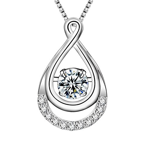 - Cosysunny Ladies 925 Sterling Silver Dancing Cubic Zirconia Oval Classic Pendant Necklace for Women