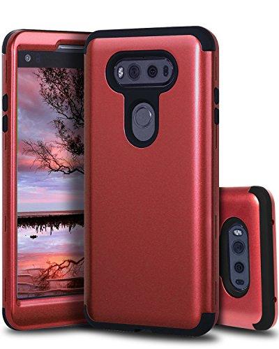 LG V20 Case,SKYLMW Three Layer Heavy Duty High Impact Resistant Hybrid Protective Cover Case For LG V20(2016)Red