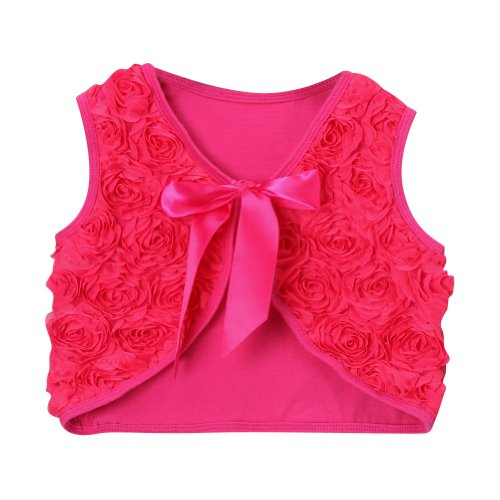 Hot Pink Girls Rosette Shrug Vest, Size ()