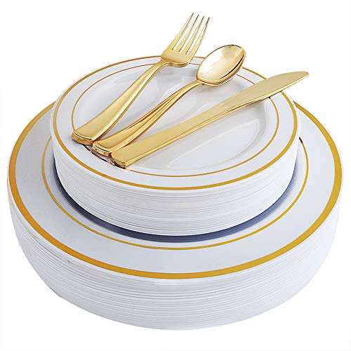 125 Piece Gold Plastic Cutlery&Elegant Plastic Plates Disposable ,Service for 25 Heavyweight Plastic Dinnerware Includes: 25 Dinner Plates, 25 Dessert Plates, 25 Forks, 25 Knives, 25 Spoons (Gold)