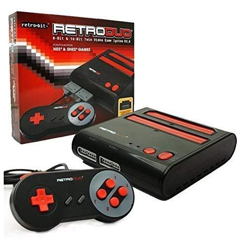 Retro-Bit Retro Duo 2 in 1 Console System – for Original NES/SNES, & Super Nintendo Games – Black/Red