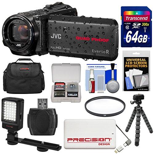 JVC Everio GZ-R440 Quad Proof Full HD Digital Video Camera Camcorder (Black) with 64GB Card + Power Bank + Case + Tripod + Filter + LED Light Kit
