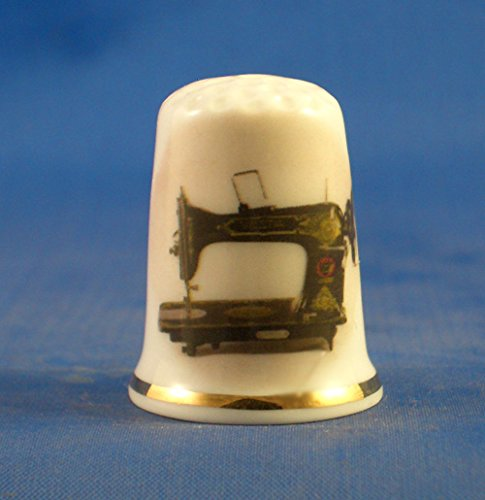 Porcelain China Collectable Thimble - Vintage Vesta Sewing Machine -- Free Gift Box Birchcroft China