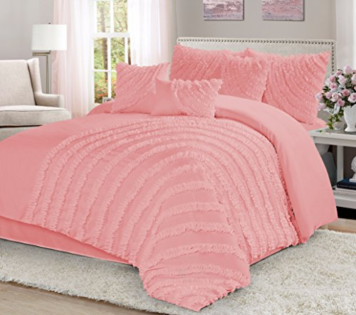 7 Piece Hillary Bed in a Bag Comforter Sets- Queen King Cal.KingSize (Queen, (Pink Bed Bag)