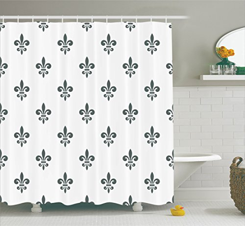 is Decor Collection, Fleur De Lis Royal Lily in Simple Old Decorating Style Ornate Antiquity Image, Polyester Fabric Bathroom Shower Curtain Set with Hooks, Grey White (Ornate Fleur De Lis)