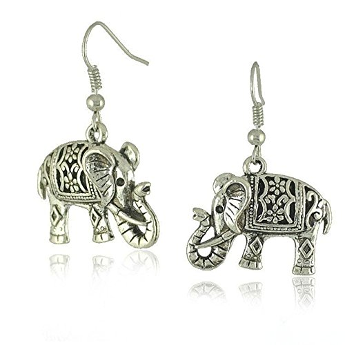 YUYUGO Women's Gypsy Indian Elephant Retro Tibetan Silver Dangle Hook Earrings Jewelry