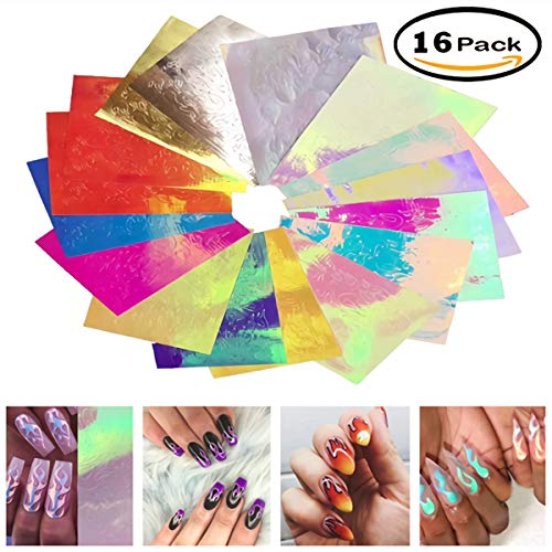 Awesome Halloween Nail Designs (Nail Art Stickers, Uscharm 16PCS Mystical Flame Halloween Nails Different Styles Pattern DIY Nail Art Decals Multi Nail Polish Fire Vinyl Stencils (16 Pack,)