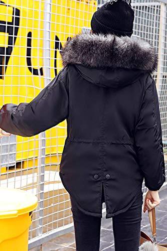 Chiusura Autunno Taglie Puro Colore Nero Invernali Manica Cerniera A Lunga Collo Pelliccia Giovane Vintage Giacche Cappotto Trapuntata Giacca Forti Fashion In Piumini Donna Casual Sintetica qxzHYCA