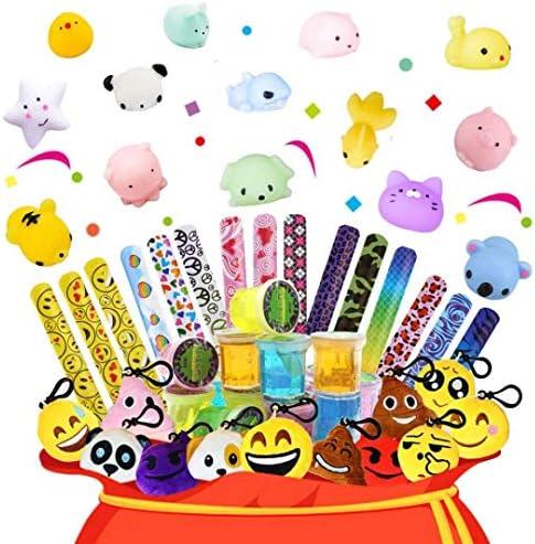 パーティーの記念品詰め合わせ 子供用 - スリム、スラップブレスレット、キーチェーン、スクイーズおもちゃ 誕生日パーティーの記念品 カーニバル賞 ピニャータフィラー 宝箱の賞品おもちゃ 教室用
