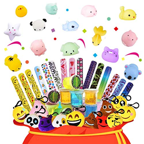 Party Favors Assortment For Kids-Slime,Slap bracelets,Keychain,Squishies Toys For Birthday Party Favors,Carnival Prizes,Pinata Filler,Treasure Box Prizes Toys for Classroom