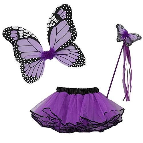 Little Girls Purple Butterfly Wings Wand Halloween Tutu 3 Pcs Set 2-4T]()