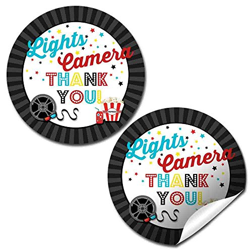 (Movie Birthday Party Thank You Sticker Labels, 40 2