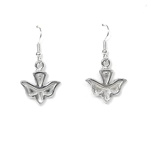 Made in USA Pewter Holy Spirit Dove Earrings Gift packaged with Peace and Joy Story Card