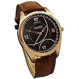 ChezAbbey Mens Luxury Analog Quartz Calendar Business Waterproof Wrist Watch, Black Dial with Brown Strap