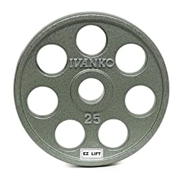 Ivanko E-Z Lift Cast Iron Olympic Plates with Holes - 25 lb. pair for use with Olympic Weightlifting Bars.