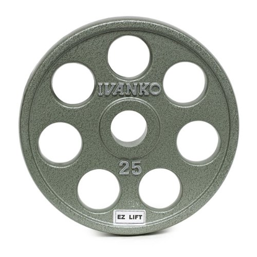 25 lb. Grey EZ Lift Olympic Plates (Pair) by Ivanko