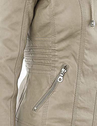 Blouse Fermeture Veste Hiver Cuir Moto Kaki Automne Printemps Faux glissire Veste Qingxian Capuche avec Femmes en wBFxEqwP8
