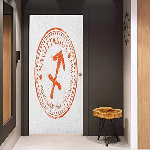 Glass Door Sticker Decals Zodiac Sagittarius Grunge Sagittarius Logo with Stars Pattern Constellation Theme Door Mural Free Sticker W36 x H79 Orange and White