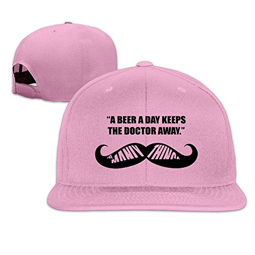 BASEE A Beer A Day Keep The Doctor Away Adjustable Flat Along Baseball Cap Pink (A Beer A Day Keeps The Doctor Away)