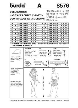Burda Craft fácil 8576 - Barbie estilo patrón de costura para vestidos de muñecas Tamaños: talla única: Amazon.es: Hogar