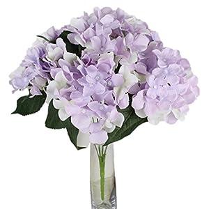 Vovotrade 7 Heads Artificial Hydrangea Silk Fake Flower Wedding Party Floral Decor (Light Purple) 24