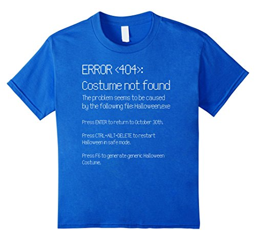 [Kids ERROR 404: COSTUME NOT FOUND - Easy DIY Costume T-Shirt 10 Royal Blue] (Nerd Costume Diy Girl)