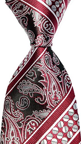 Scott Alania® New Classic Dark Red Silver 100% New Paisley Jacquard Woven Silk Mens Tie Necktie