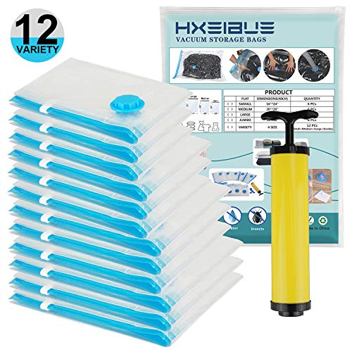 HXEIBUE Vacuum Storage Bags (3 x Small,3 x Medium,3 x Large,3 x Jumbo) with Free Hand-Pump, Vacuum Sealer Bags & Double Zip Locks for Clothes,Pillows,Blankets,Comforters,Towel,Mattress(12 Pack)