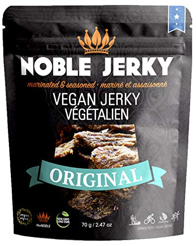 Noble Jerky - Vegan Jerky Original Flavor | Protein Rich Plant Based Veggie Snacks | Meatless, Vegan and Vegetarian Friendly | Garlic Pepper Seasoning | 100% Free from Beef or Meat | Non GMO