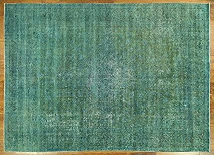 Green overdyed rug Side Bed Image Unavailable Amazoncom Amazoncom Bh Sun H7322 Bluegreen Overdyed Tabriz 10 14 Ft