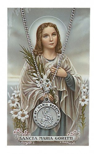 St. Maria Goretti Catholic Pewter Medal with Prayer Card Set & Chain, Great for Men, Women & Children. Catholic Saint Maria Goretti Patron Saint of Girls, Rape Victims, Youth, Catholic Youth, Teens, Teenagers, Against Poverty, Children, Purity, Teenage Girls.