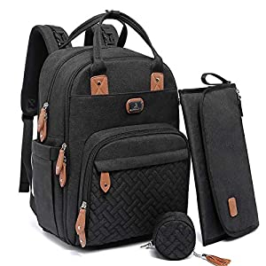Changing Bag Backpack, Dikaslon Large Nappy Back Pack Multifunction Baby Bags with Portable Changing Mat, Pacifier…