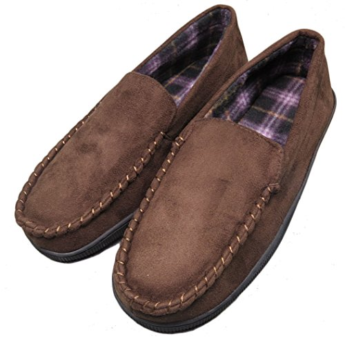 Men's Anti-slip Indoor/Outdoor Microsuede Moccasin Slippers with Hardsole