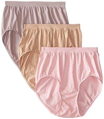Bali Women's Comfort Revolution Brief Panty (6-Pack) (8-9, Nude/Warm Steel/Pink Sands)