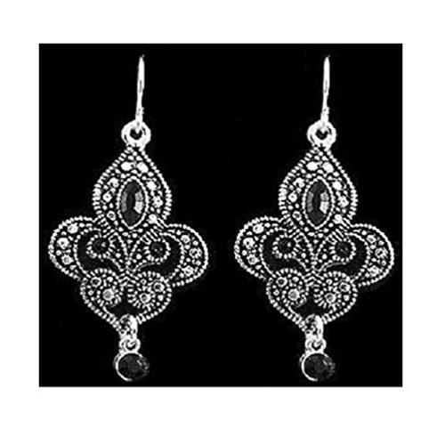 Earrings ~ Fleur De Lis ~ Dangling ~ Marcasite Look