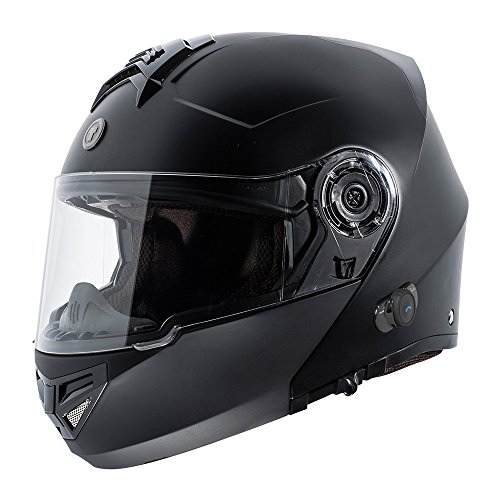 TORC T27 Full Face Modular Helmet with Integrated Blinc Bluetooth (Flat Black, X-Large)