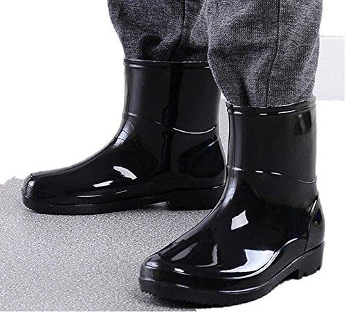 Satuki Volwassen Heren Antislip Korte Enkel Hoge Rubberen Schoenen Regenlaarzen Zwart